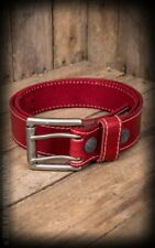 Cinturón Piel - Leather belt with double prong buckle, red