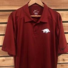 EUC Mens Red Nike Dri-Fit Arkansas Razorbacks Polyester Golf S/S Polo Shirt L