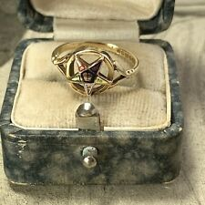 Vintage 9ct Gold Masonic Enamel Ring 'Order of the Eastern Star' 1976