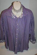 Vintage Taylor Byrd Mens Dress Shirt 5XB Purple Striped Long Sleeve Cotton EUC