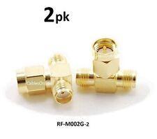 2-PACK SMA Jack-Plug-Jack 1 Male/2 Female RF coaxial T-Adapter, RF-M002G-2