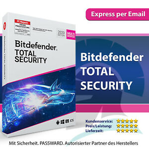 Bitdefender Total Security 2021 – 1, 3, 5 oder 10 Geräte / PC   1, 2, 3 Jahre