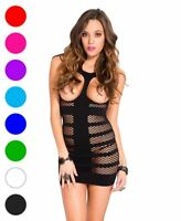 Cupless Striped Fishnet Chemise - Music Legs 6736