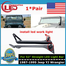 Roof Steel Mounting Bracket W/A-Pillar For Jeep YJ Wrangler 52inch LED Light Bar