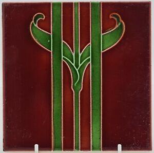 """ORIGINAL ART NOUVEAU TILE BY RHODES TILE CO. C.1906 6x6"""""""