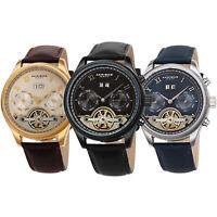 Men's Akribos XXIV AK1065 Automatic Multifunction Skeleton Leather Strap Watch