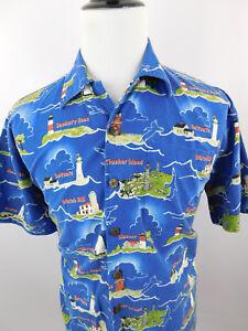 David Carey Originals Mens Lighthouses of Massachusetts Short Sleeve Shirt Large