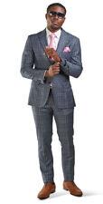 Slim Fit 2 Button Mens Suit Slate Gray Windowpane Plaid Peak Lapel 35071 AZARMAN