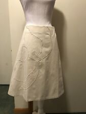 NWT Lane Bryant 18 Ivory Cotton Skirt With Embroidered Flower