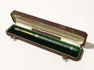 Antique Russian c1910 Gilt Silver & Cloisonne Enamel Dip Pen in Box Beautiful