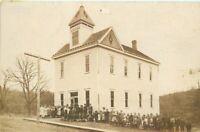 Children Group Schoolhouse C-1910 RPPC Photo Postcard 20-284