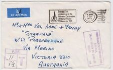 Stamp 1973 England Human Rights postmark cover to Australia insufficient airmal