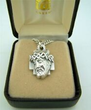 "Mens Fine Brushed Silver 1"" Sorrowful Crown of Thorns Head of Christ Medal w Box"