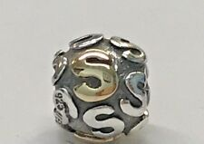 PANDORA | 14K GOLD SILVER LETTER S CHARM *NEW* 790298S RETIRED AUTHENTIC RARE US