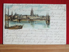 Farblitho - Frankfurt am Main - Brücke ,Schiff + Stadt - gel 1898    m1
