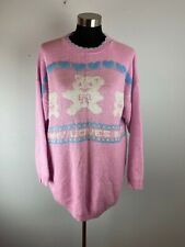 Vintage Fairy Kei Delivery Maternity Sweater 1X Pink Bear Mommy Loves Baby USA