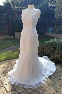 Ivory White Silk (100%) Beaded Embroidered Wedding Gown Dress UK 10 EU 38 USA 6