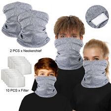 Multi-use Tube Scarf Bandana Head Face Mask Neck Gaiter Head Wear with 10 Filter