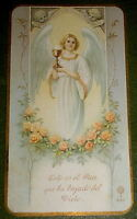 1927's NICE ANGEL WITH CHALICE 1st COMMUNION MEMENTO GOLDPRINT HOLY CARD