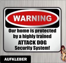 Haustür Aufkleber Warning DOG our home  Hunde Siviwonder Einbruch Warnaufkleber