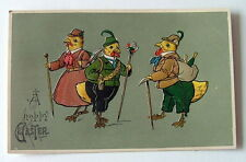 1911 HAPPY EASTER POSTCARD THREE DRESSED UP CHICKENS WITH WALKING STICKS CANES