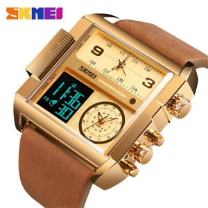 SKMEI Men Watch Large Dial Digital LED Qaurtz Sport Stopwatch Leather Wristwatch