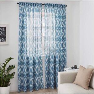 "NEW IKEA BLALILJA CURTAIN PANELS BLUE SHEER DRAPES 2X 57X98"" 503.965.98 SEALED"