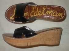 Sam Edelman Reid Black Patent Leather Cork Wedge Sandals Size 10.5 NEW