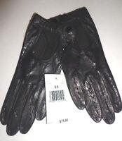 Ladies Bloomingdales Genuine Leather Driving Gloves, Small, Black