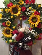 Farmhouse Yellow Sunflower And White Rooster Wreath