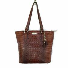 BRAHMIN Handbag Melbourne Pecan Croc Leather Tassels VTG Shoulder Tote Zipper