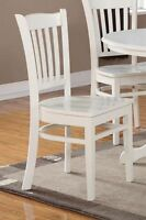 Set of 2 Groton dinette kitchen dining chairs with wood seat in linen white