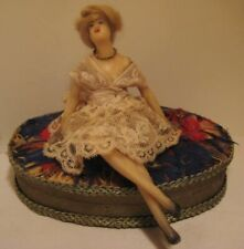 Rare Old Austria Wax Pretty Lady Doll Beauty on Feather Bed Candy Container Box