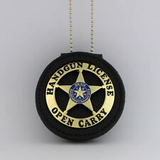 Handgun License  Badge & Leather holder Belt Clip Open Carry Texas gold plated