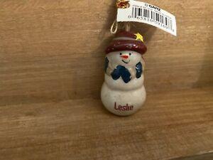 LESLIE Personalized Snowman Ornament GANZ