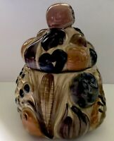 Vintage Los Angeles Pottery 1950's Cookie Jar Fruits Vegetables Glazed Scarc B10