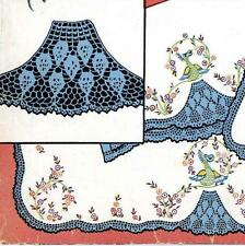 Vintage Embroidery 193 Peacock w Crochet Feathers for Vainty Pillow Case Scarf