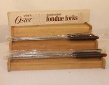 Fondue Forks Set 6 Stainless Steel Teak Handles Vintage Colored Tips Oster Japan