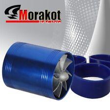 "New 3"" Tornado Turbonator Intake Dual Fan Gas Fuel Saver Supercharger Blue 6 HP"