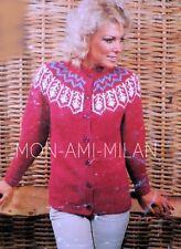 "Fair Isle Yoke Chunky Jacket Cardigan Knitting Pattern Copy Ladies Top 32-38"""
