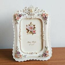 Retro White Rose Flower Home Decor Photo Frame Picture Frame Resin 6'' x 4''