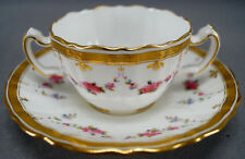 Set of 4 Minton Pink Rose Garland & Gold Greek Key Bouillon Cups & Saucers AS IS