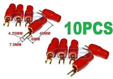 10 PACK 4 GAUGE COPPER 24K GOLD PLATED SPADE TERMINAL CONNECTORS RED BOOTS #8