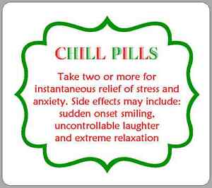 Chill Pills Stickers Funny Fete Fayre PTA Fundraising Labels Novelty Gift Idea