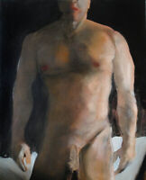 Painting NUDE male DARKNESS REVISITED 1/7/50 Esteban Realism Signed US