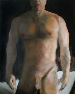 Painting NUDE male DARKNESS REVISITED 1/8/50 Esteban Realism Signed US