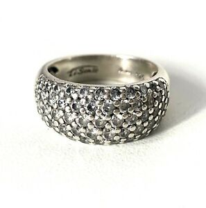 Designer Ti Sento Solid Sterling Silver Clear Sparkling Chunky Cocktail Ring : R