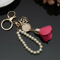 Fashion KeyChain Bag Keyring Key Chain Rhinestone Pearl Rose Charm Jewelry Gifts