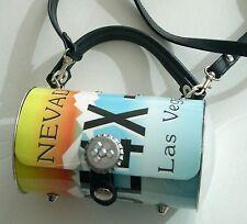 Nevada Las Vegas Purse - Metal w Leather Straps