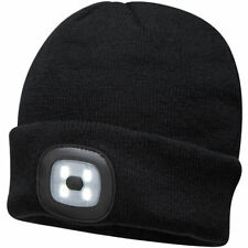 Portwest Beanie Hat with Rechargeable LED Head Light - Black